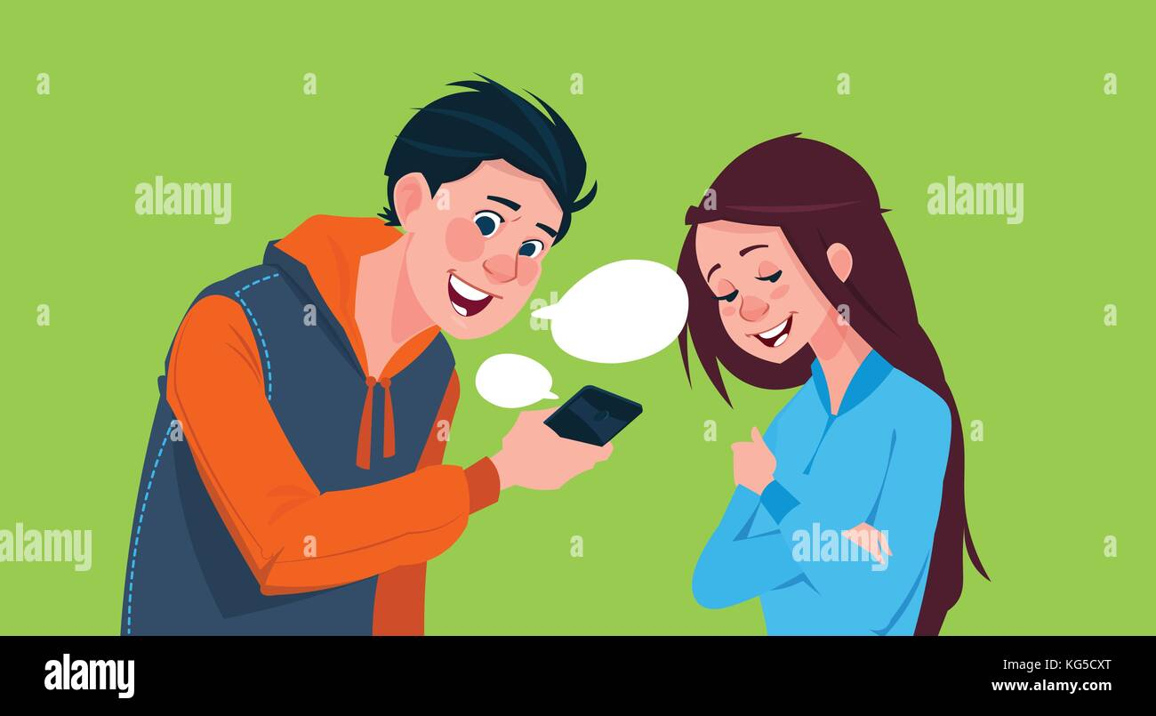 girl and boy talking on phone