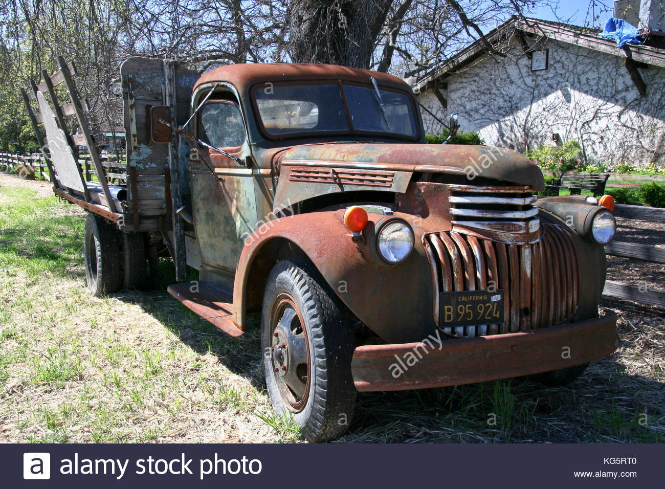 old rusty truck on yard of V. Sattui winery, California Stock Photo ...
