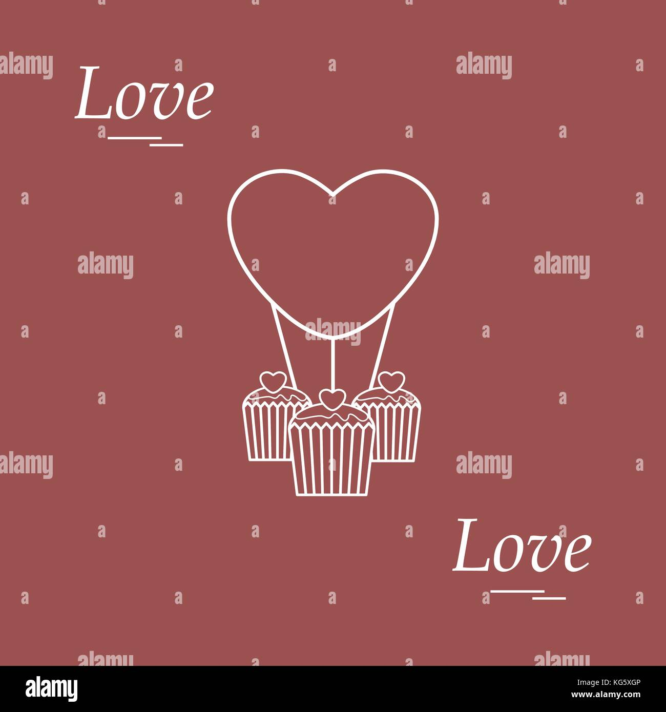 Cute vector illustration of love symbols heart air balloon icon cute vector illustration of love symbols heart air balloon icon and three cupcakes romantic collection design for banner flyer poster or print buycottarizona Images