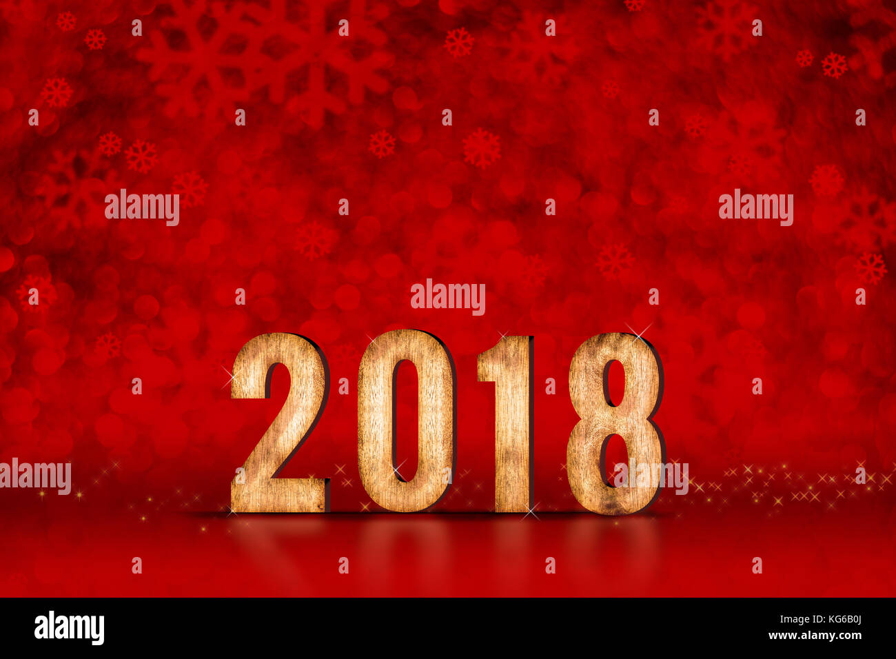 happy new year 2018 number at red snowflakes sparkling bokeh lightsleave space for adding content holiday greeting card