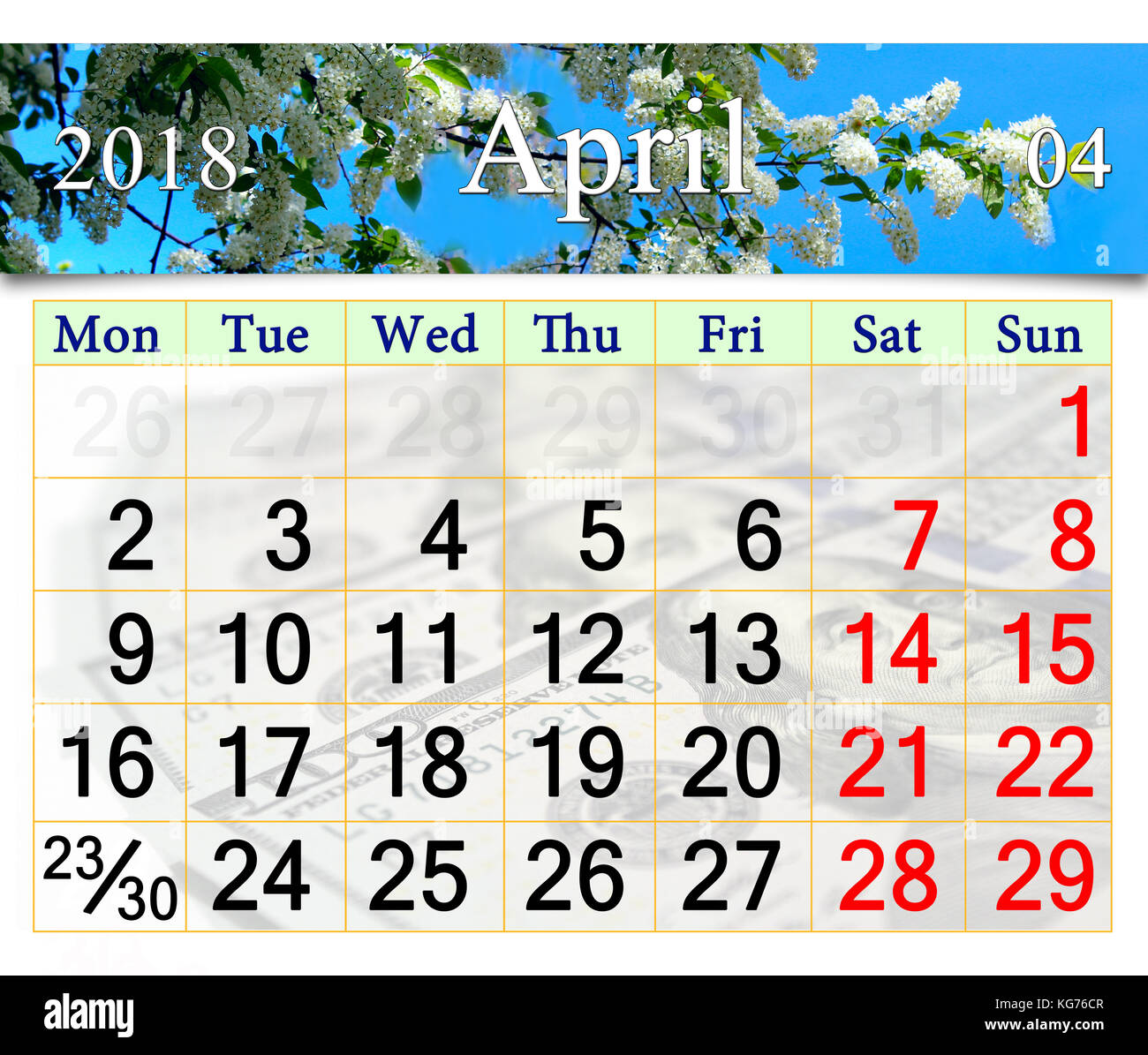 calendar for april 2018 on the background of spring bird cherry tree