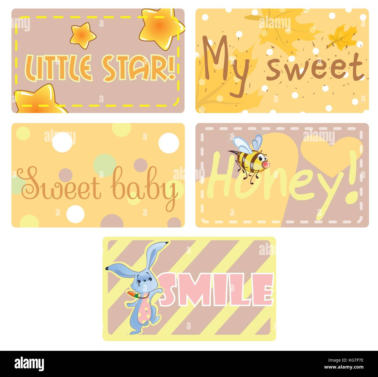 Set Of Greeting Cards Clipart With Cute Baby Rabbit Hearts Baby