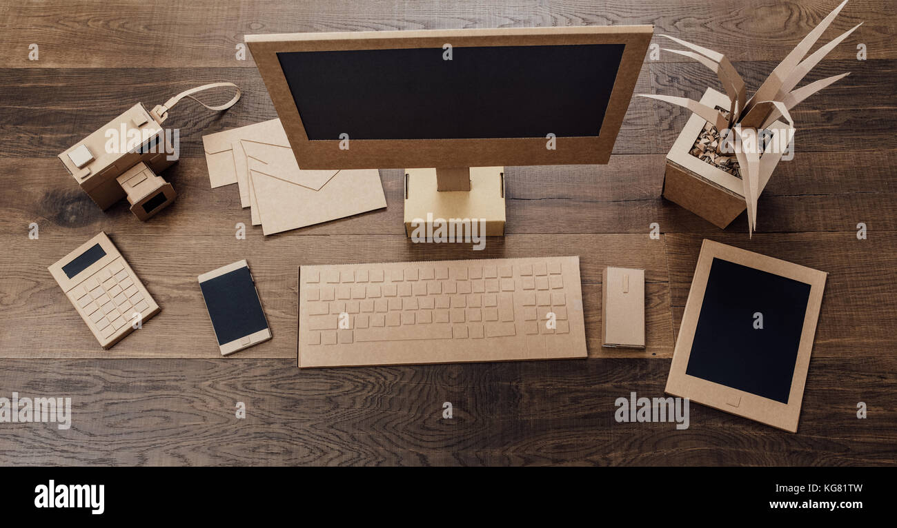 Creative office desk Living Room Creative Ecofriendly Office Desk Items Computer Tablet And Smartphone Handmade Using Recycled Cardboard Top View Alamy Creative Ecofriendly Office Desk Items Computer Tablet And Stock