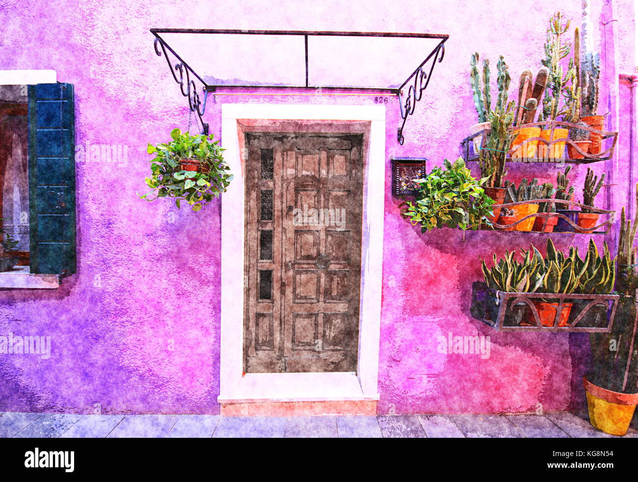 Digital art watercolor: purple painted house facade with potted ...