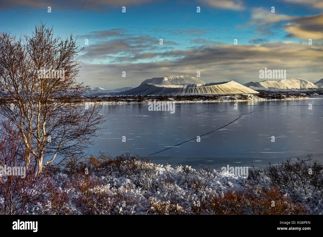 Christmas Landscape with Snow Capped Hverfjall Volcano and refl ...