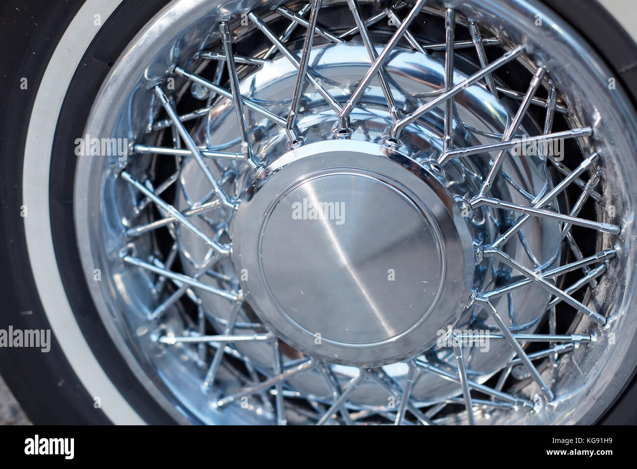 prestige ally wheels with a spoke design on a vintage classic car in a close up