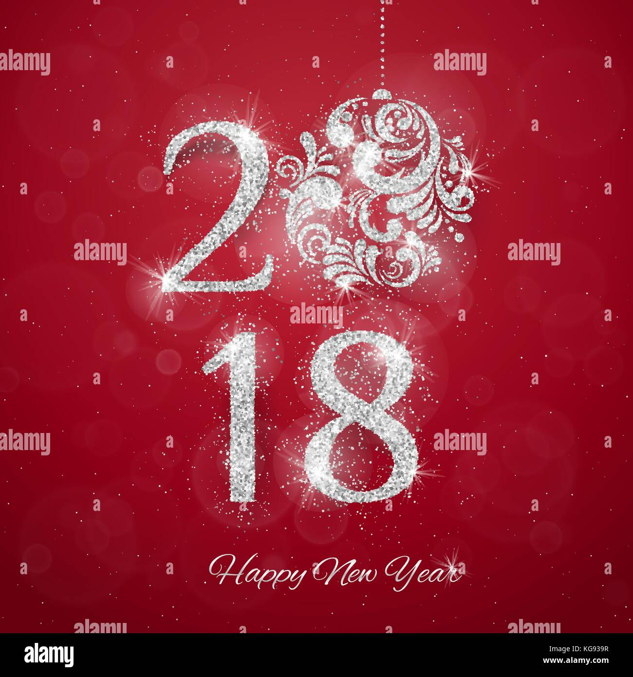 2018 happy new year background with silver glitter numbers on red background vector new year holiday banner
