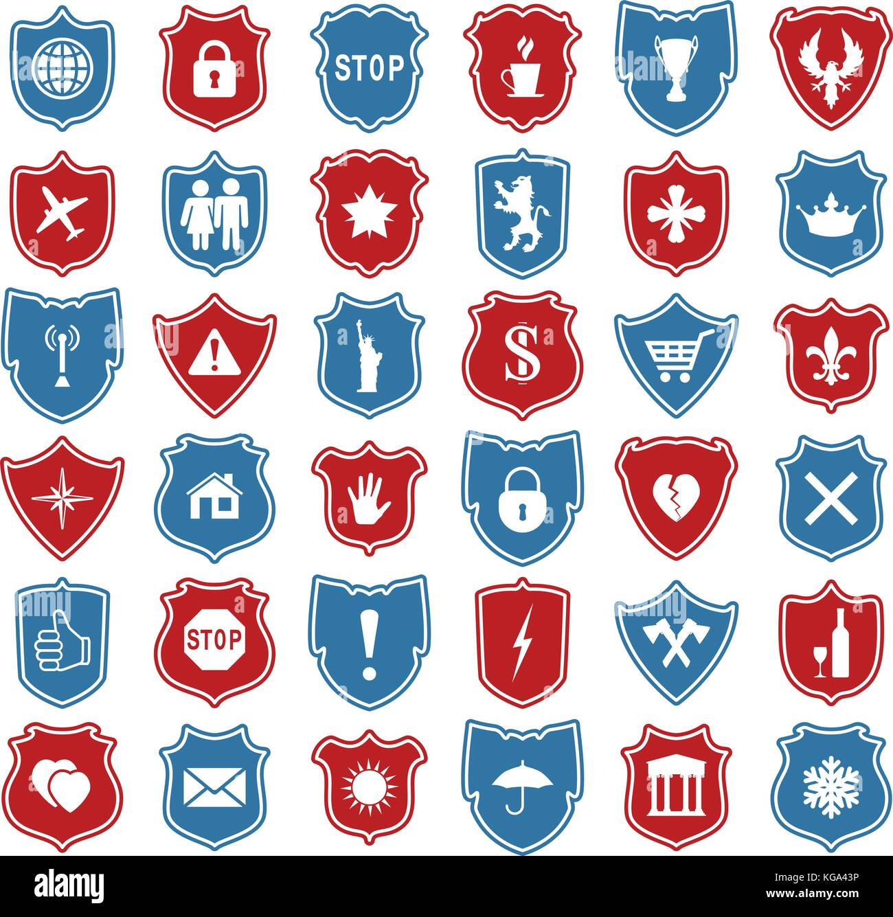 Vector Set Of Shield Icons With Modern And Medieval Symbols Stock