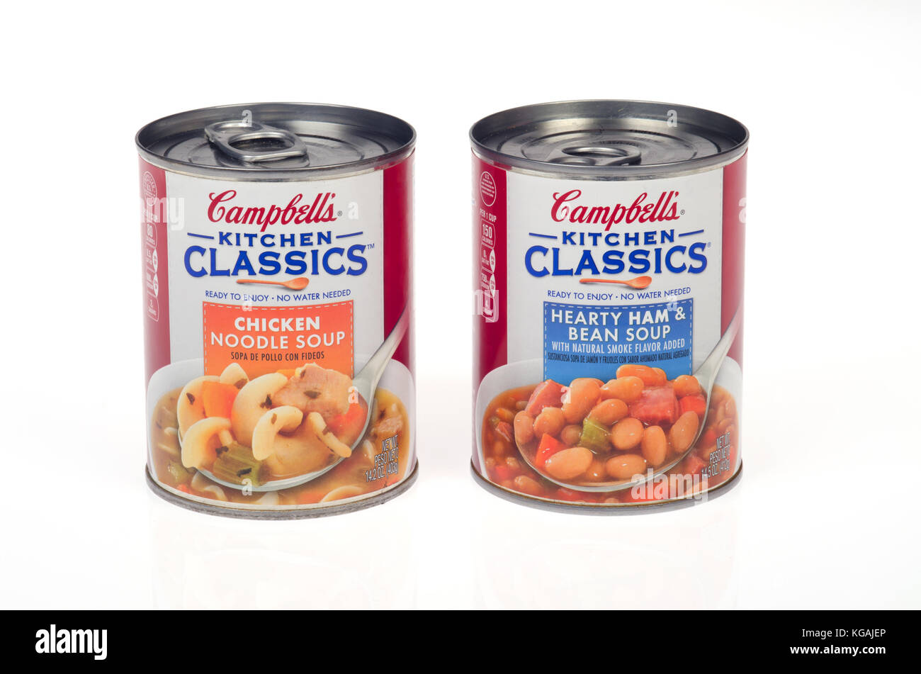2 Cans Of Campbellu0027s Kitchen Classics Soup, 1 Chicken Noodle And 1 Hearty  Ham And Bean