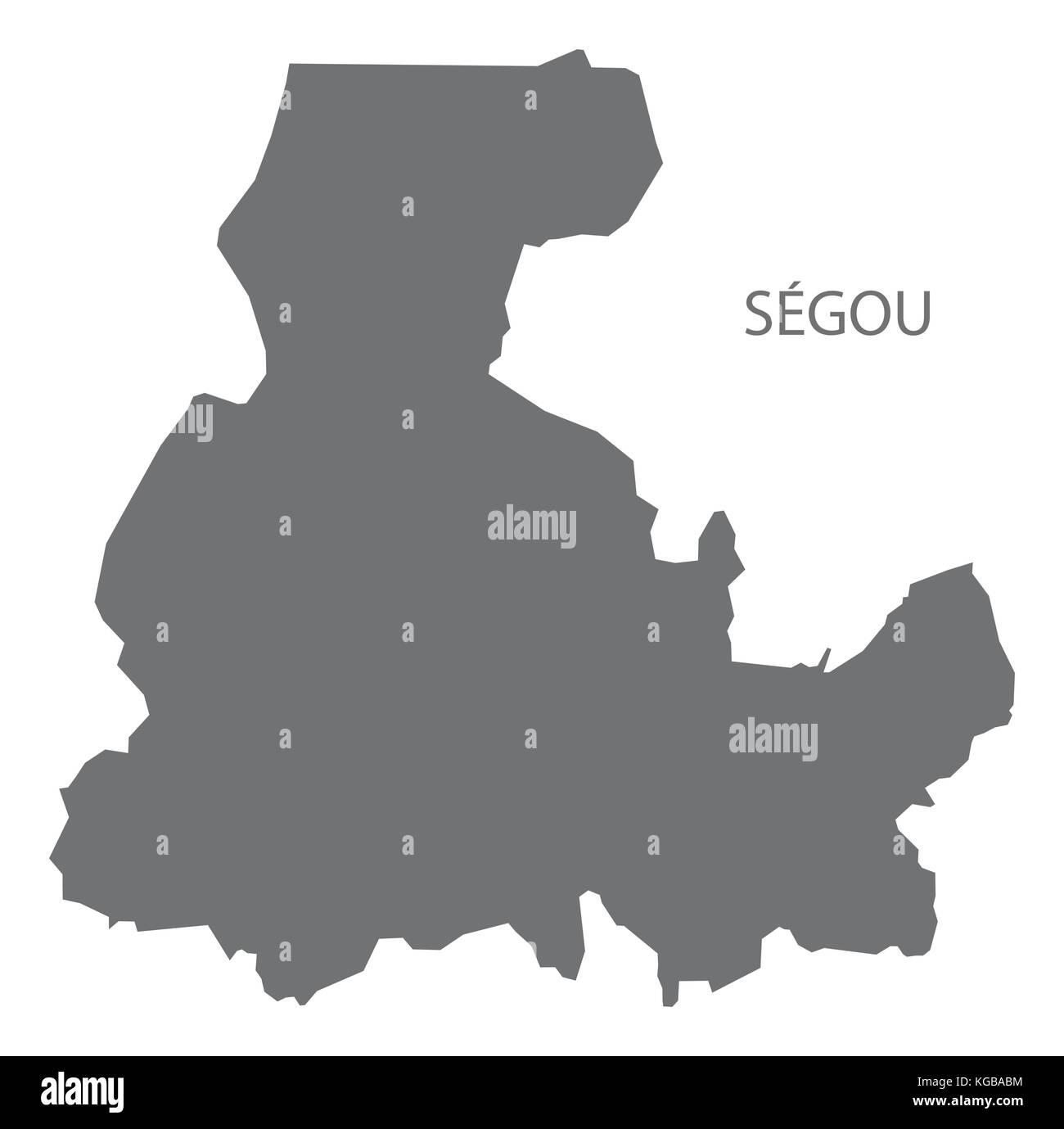 Segou region map of Mali grey illustration silhouette shape Stock