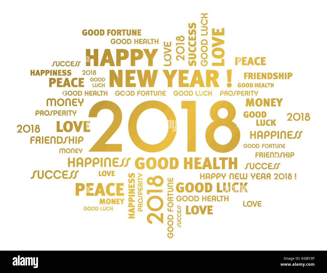 Gold greeting words around year 2018 typescript isolated on white ...
