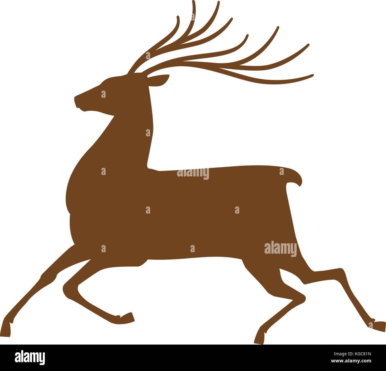running deer icon or symbol reindeer animal silhouette vector illustration stock