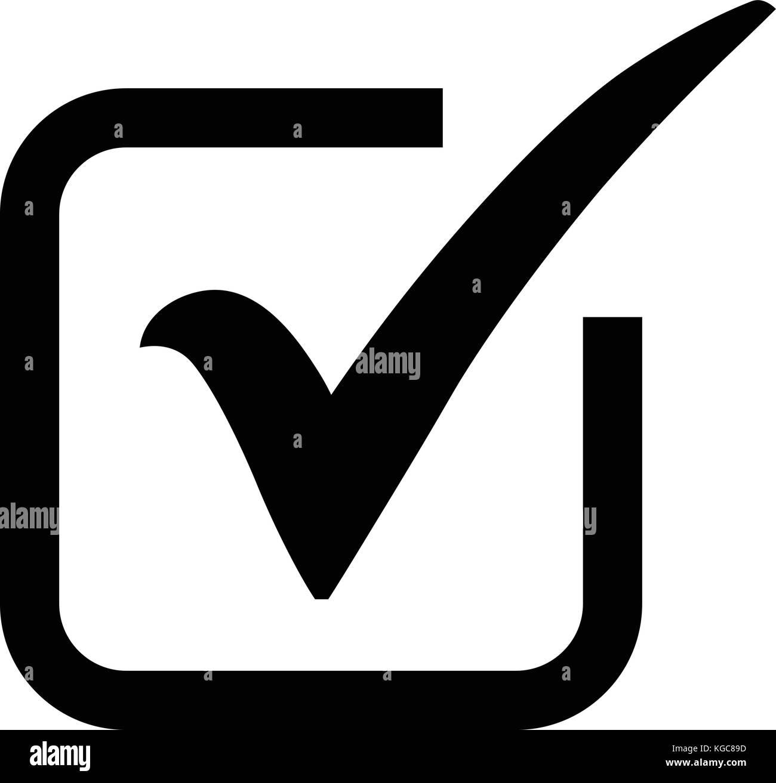 Black Check Mark Icon In A Box Tick Symbol In Black Color Vector
