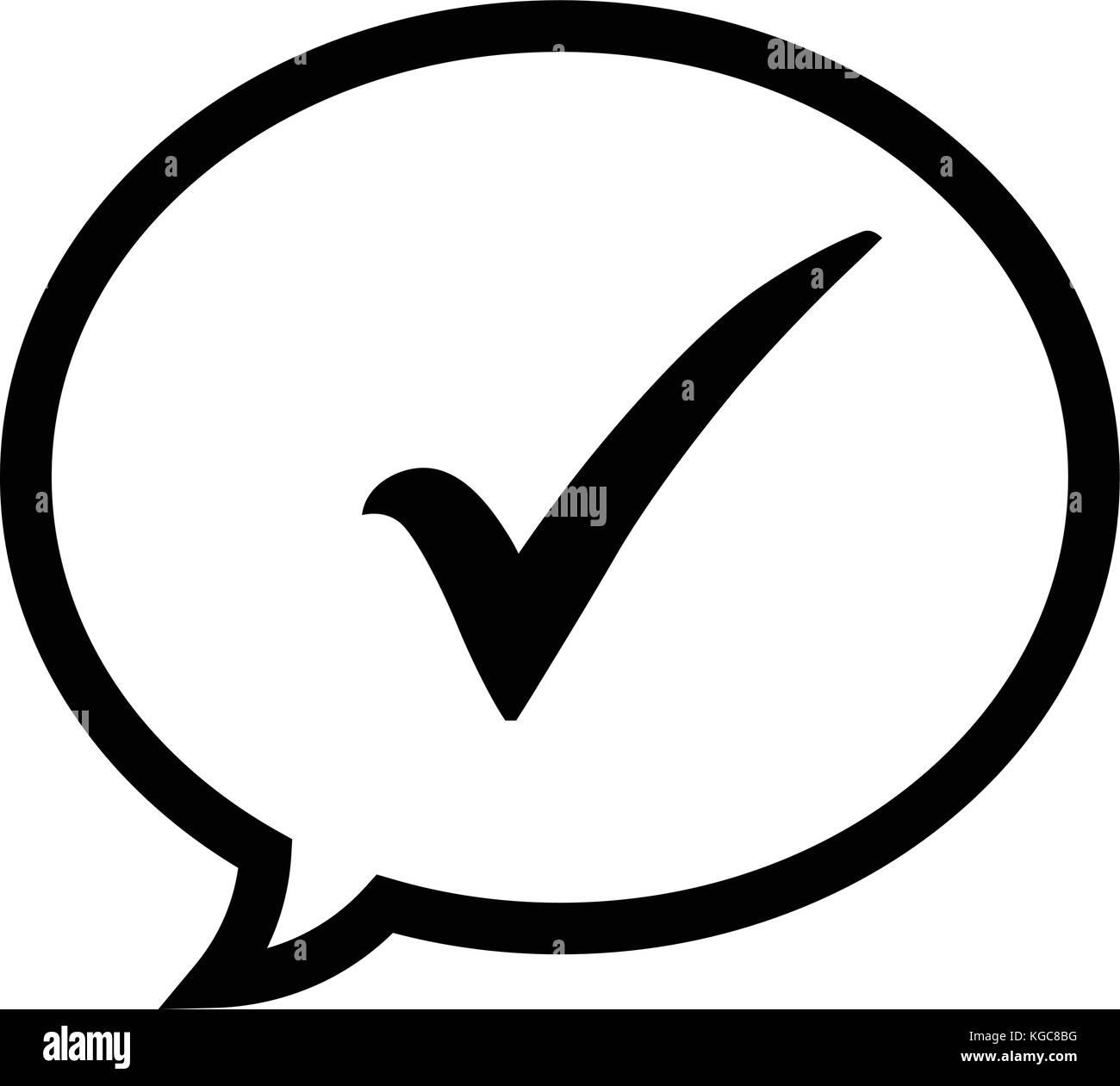 Check mark icon in a black speech bubble tick symbol in black chat check mark icon in a black speech bubble tick symbol in black chat bubble icon vector illustration biocorpaavc Image collections