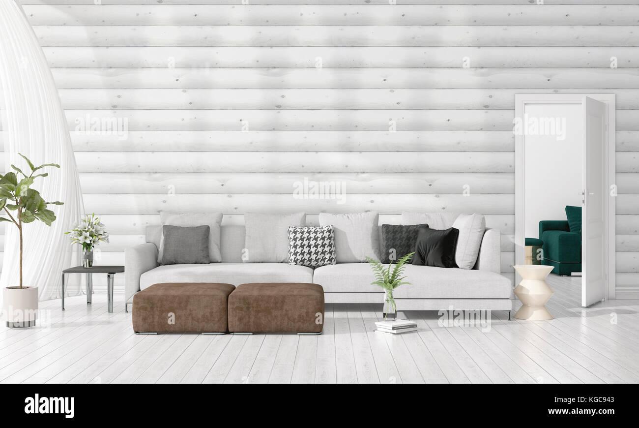 Modern Interior Design Of Livingroom In Vogue With Plant, Grey Divan,  Copyspace. Horizontal Arrangement. 3D Rendering
