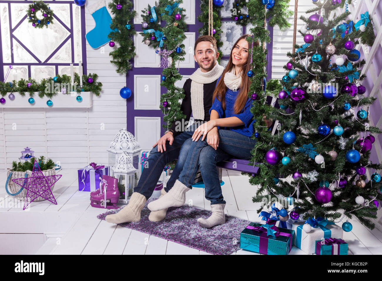 Christmas decoration couple stock photos christmas for Love on the terraces