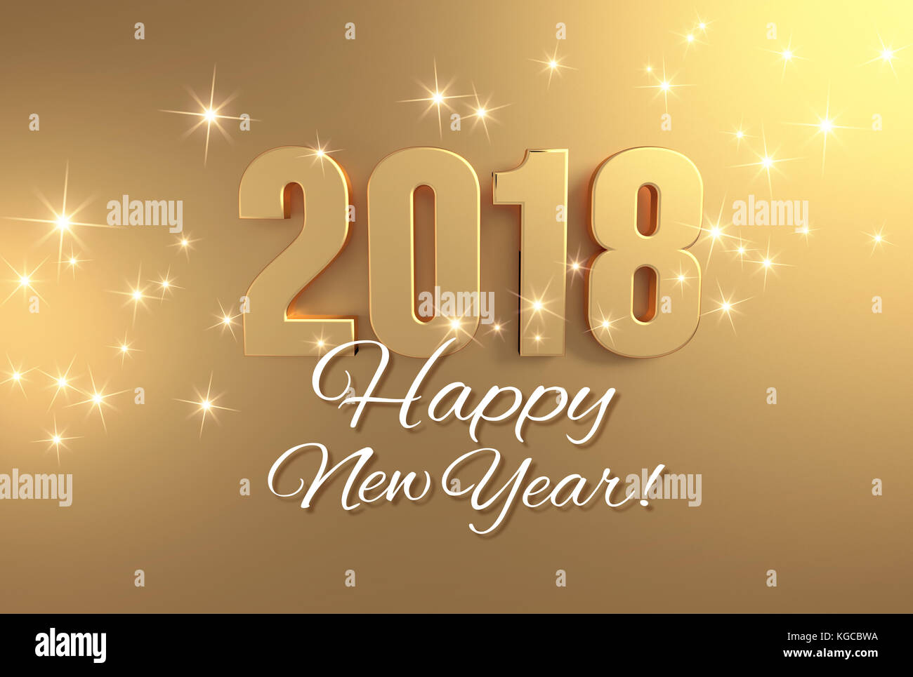 gold 2018 year type and happy new year greetings on a bright golden background 3d illustration
