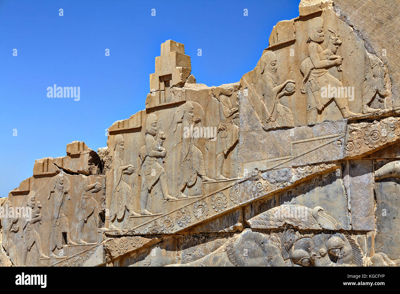Relief carving ruins ancient persian stock photos