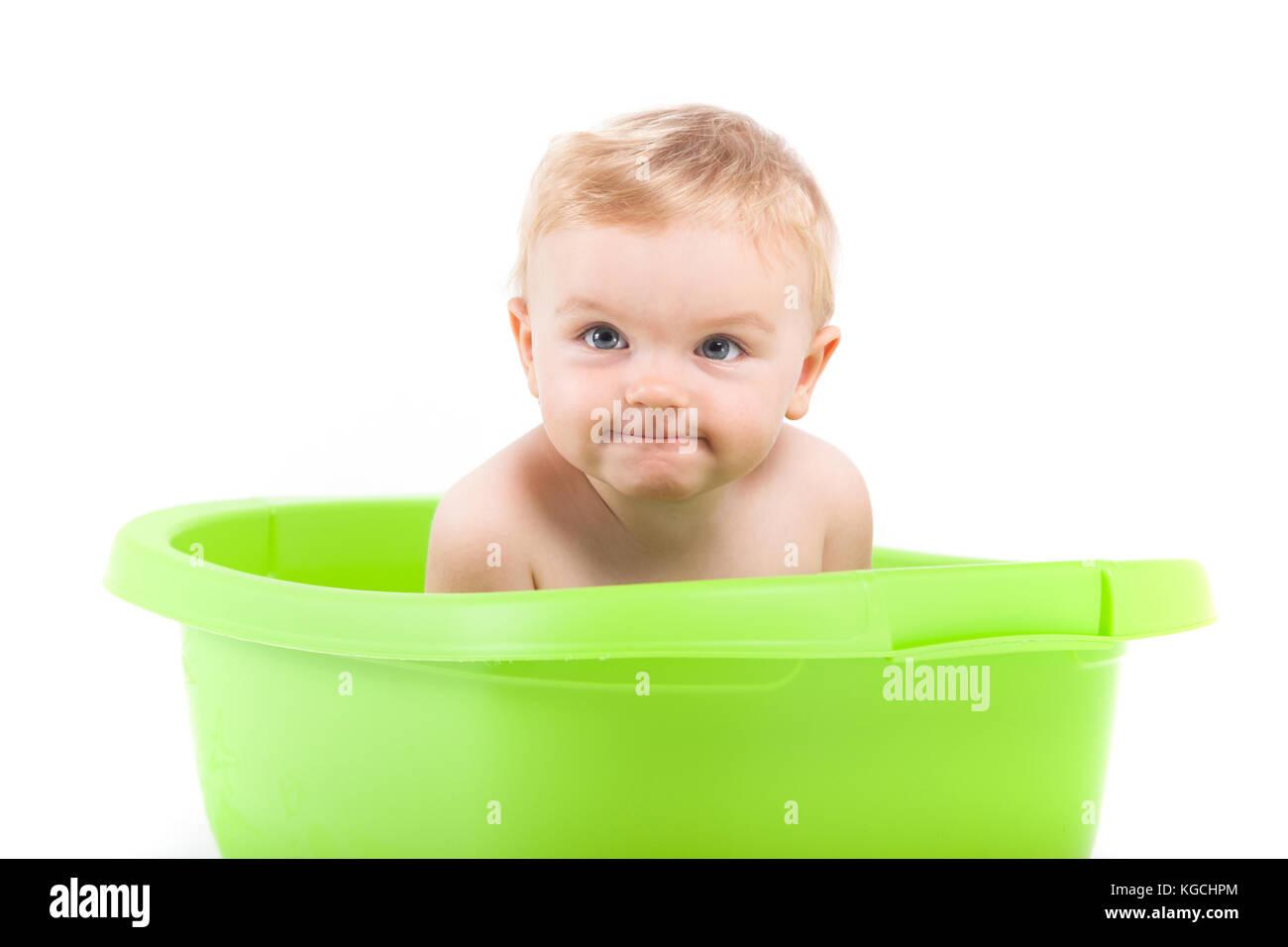 cute attractive baby boy take bath in tub Stock Photo: 165005196 - Alamy