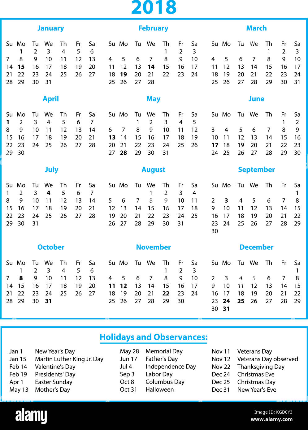 2018 calendar with holidays color