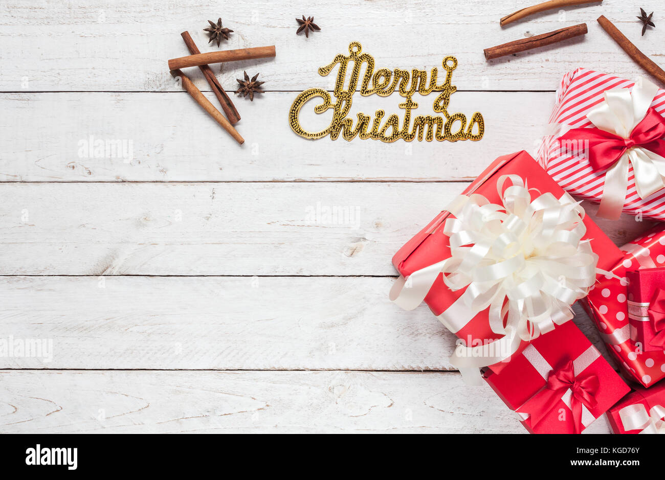 Top View Aerial Image Of Decorations Ornaments Merry Stock Photo