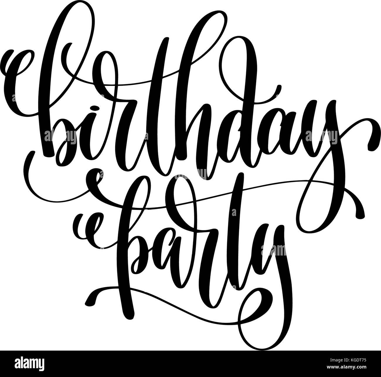 Birthday Party Hand Lettering Event Invitation Inscription Stock