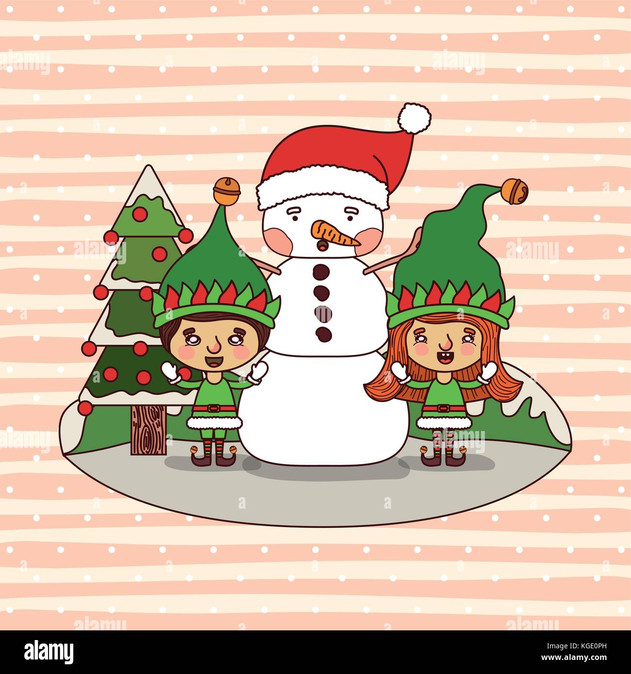 Christmas Card With Christmas Tree And Gnome Kids And Snowman And