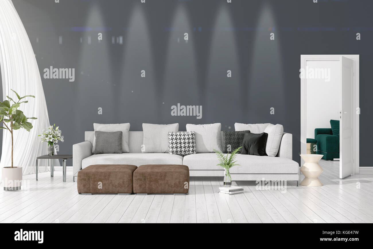 Modern Loft Interior Design Of Livingroom In Vogue With Plant, Yellow Divan,  Copyspace. Horizontal Arrangement. 3D Rendering