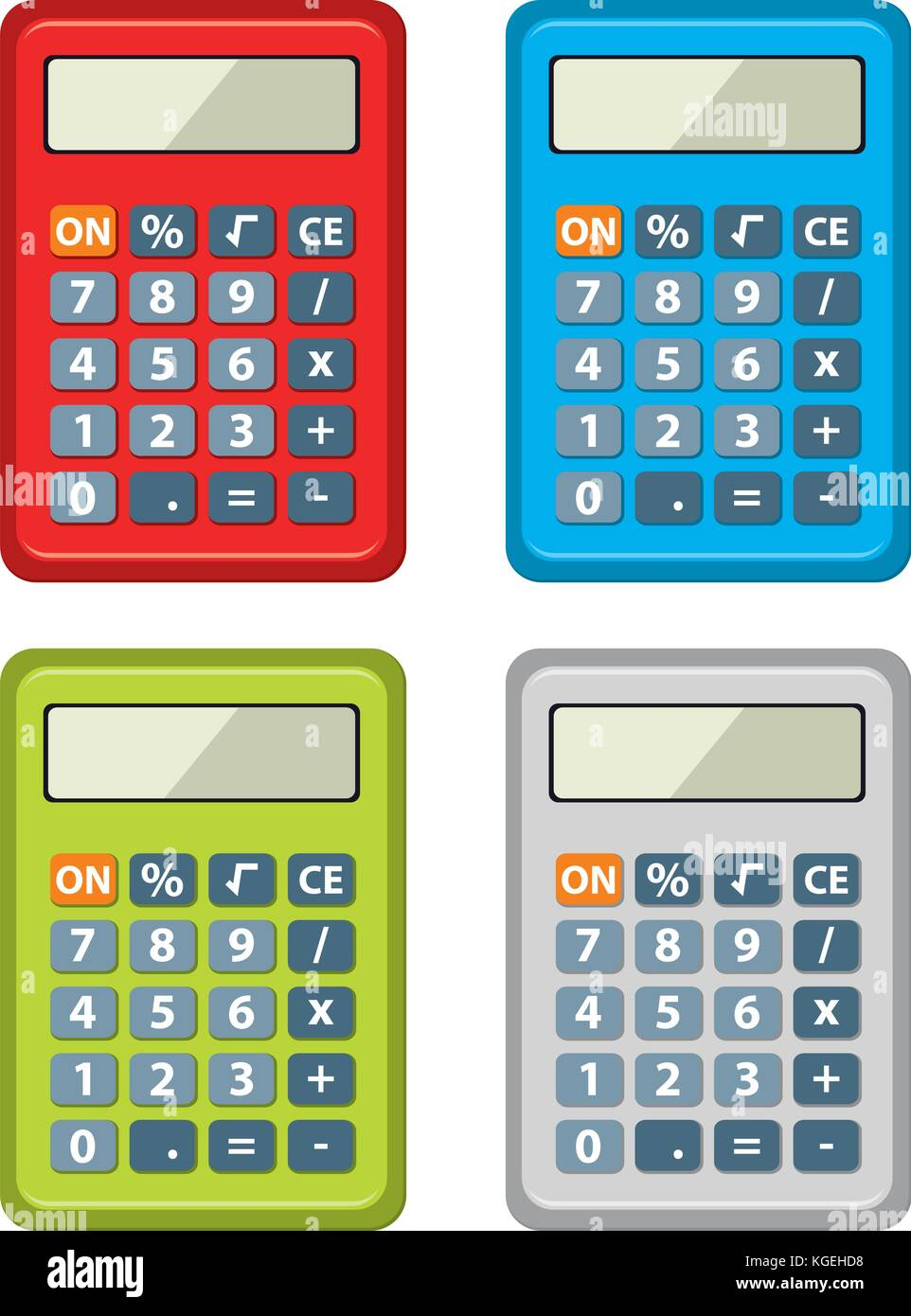 vector set of calculator icons isolated on white background