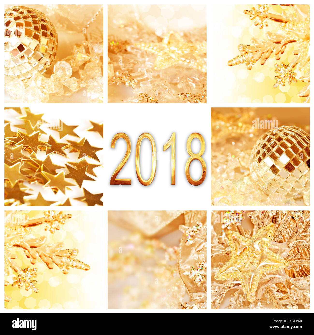 2018 golden christmas ornaments collage square greeting card stock 2018 golden christmas ornaments collage square greeting card m4hsunfo