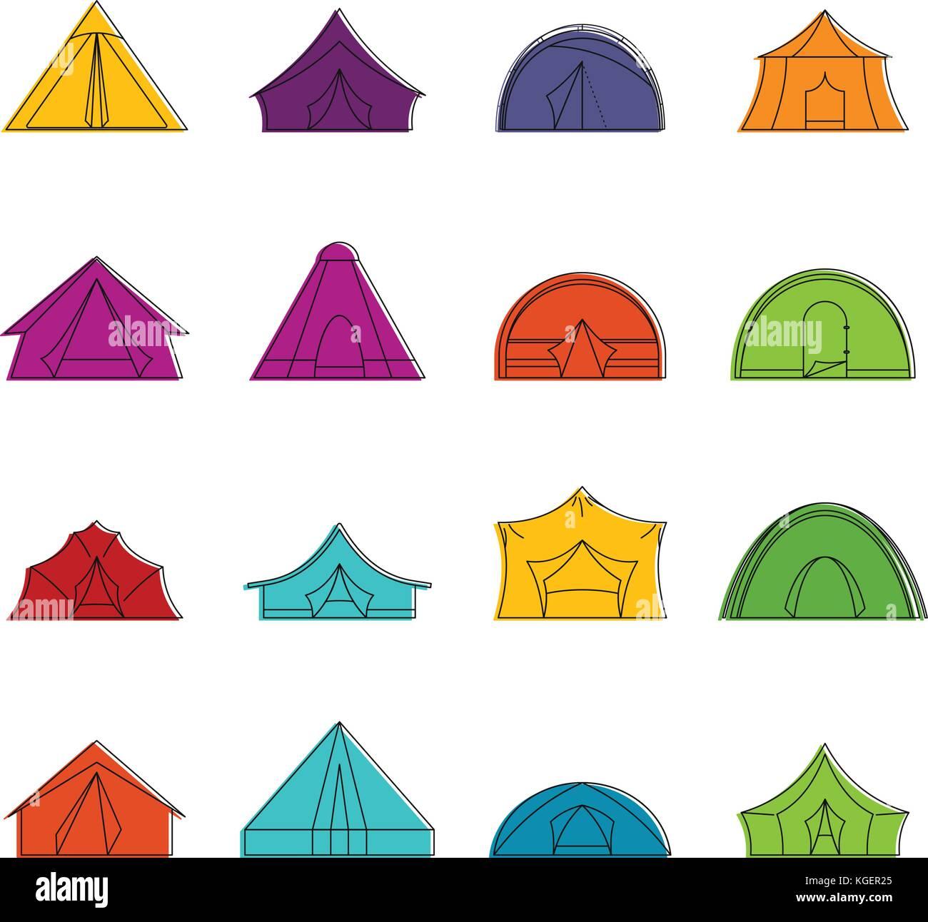 Tent forms icons doodle set  sc 1 st  Alamy & Tent forms icons doodle set Stock Vector Art u0026 Illustration ...