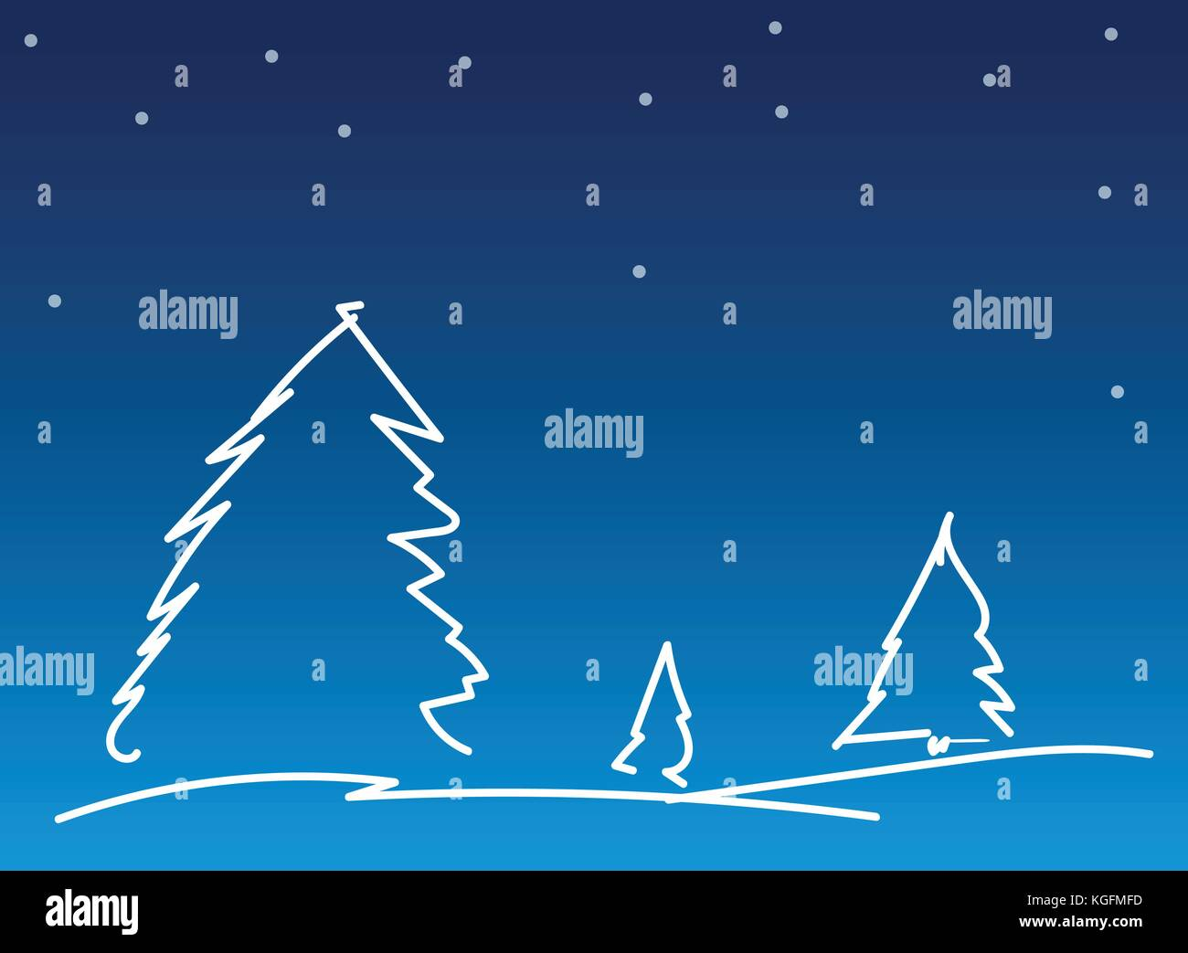 abstract simple line christmas background christmas tree on blue background with snowfall vector background illustration