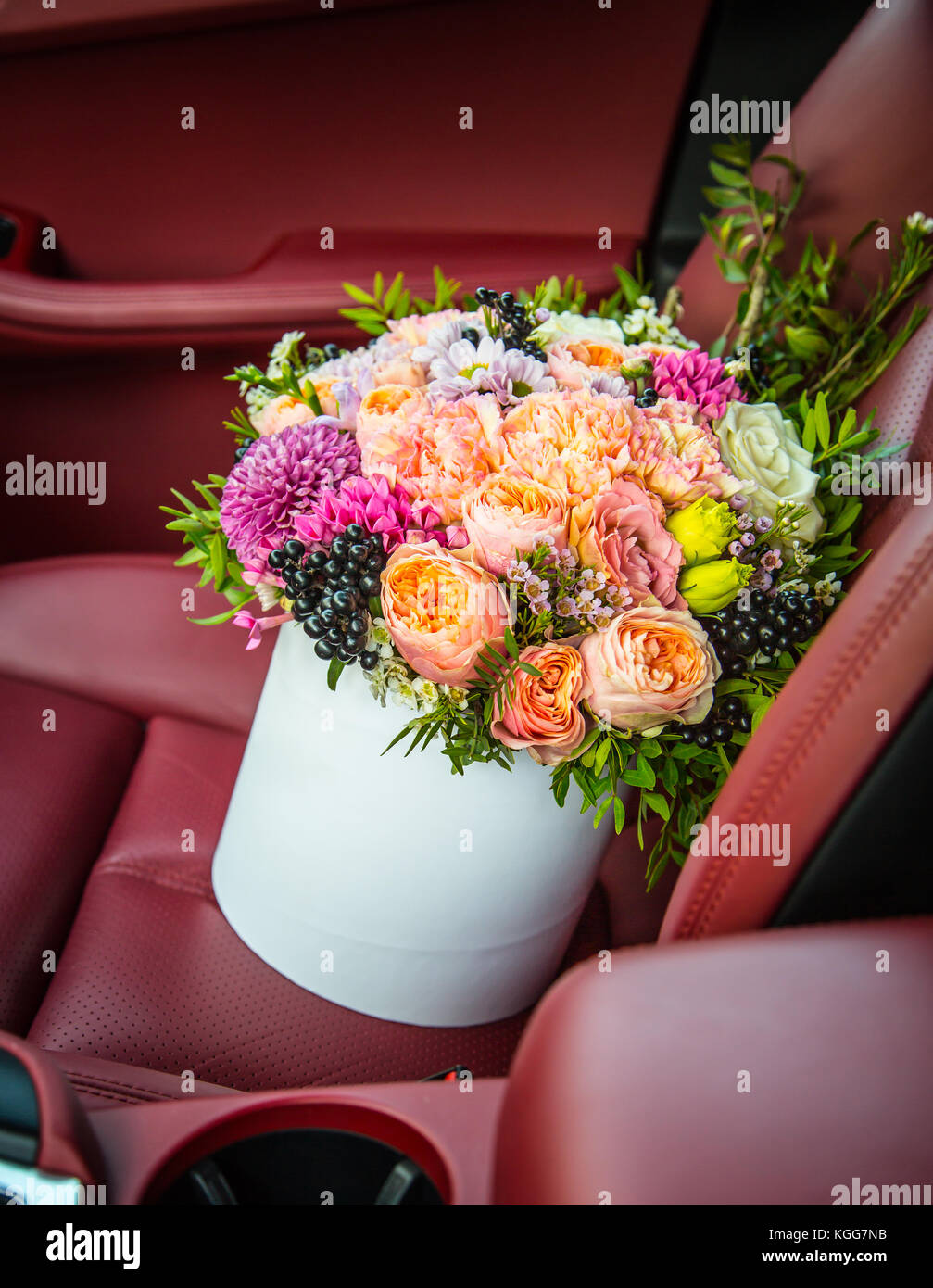 Bouquet of flowers roses luxury gift box in the car seat stock photo bouquet of flowers roses luxury gift box in the car seat mightylinksfo