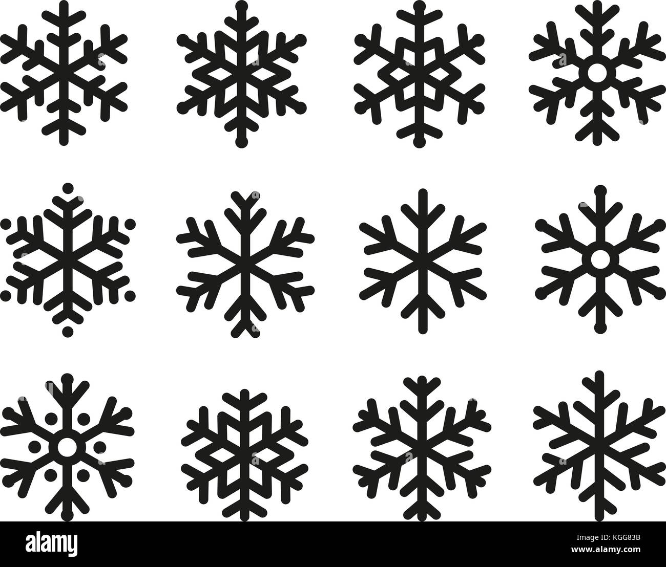 snowflakes icon set linear black design freeze symbol collection vector logo elements of decorating new years and christmas holidays