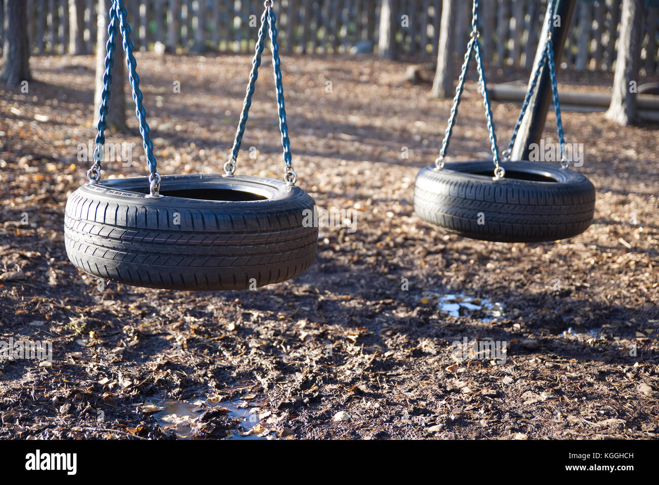 A Tire Swing Set On A Playground In Autumn Stock Photo 165092721