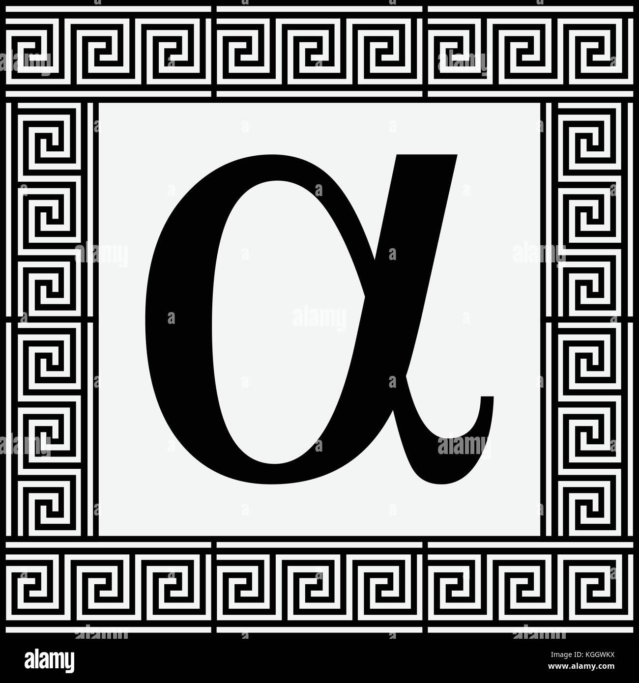 Alpha greek letter icon alpha symbol in ancient greek frame alpha greek letter icon alpha symbol in ancient greek frame vector illustration buycottarizona