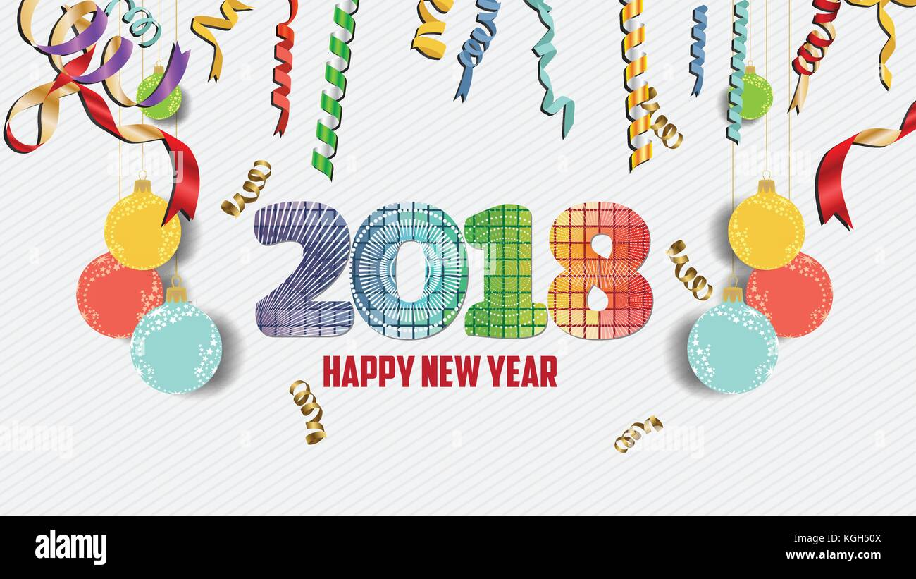 happy new year 2018 confetti celebration colorfull greeting decoration