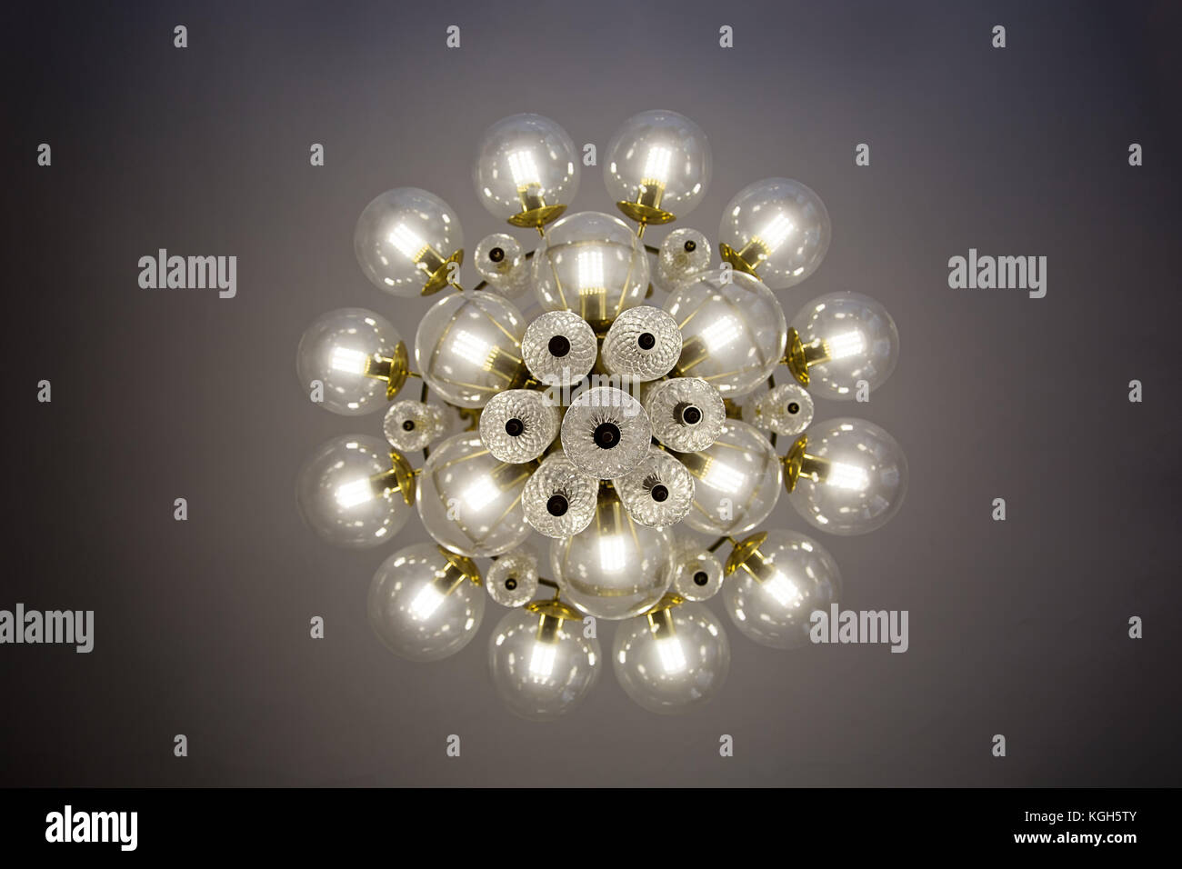 glass bulb chandelier glass ball crystal glass chandelier view from bottom round shape bulb covers lit energyefficient light bulbs