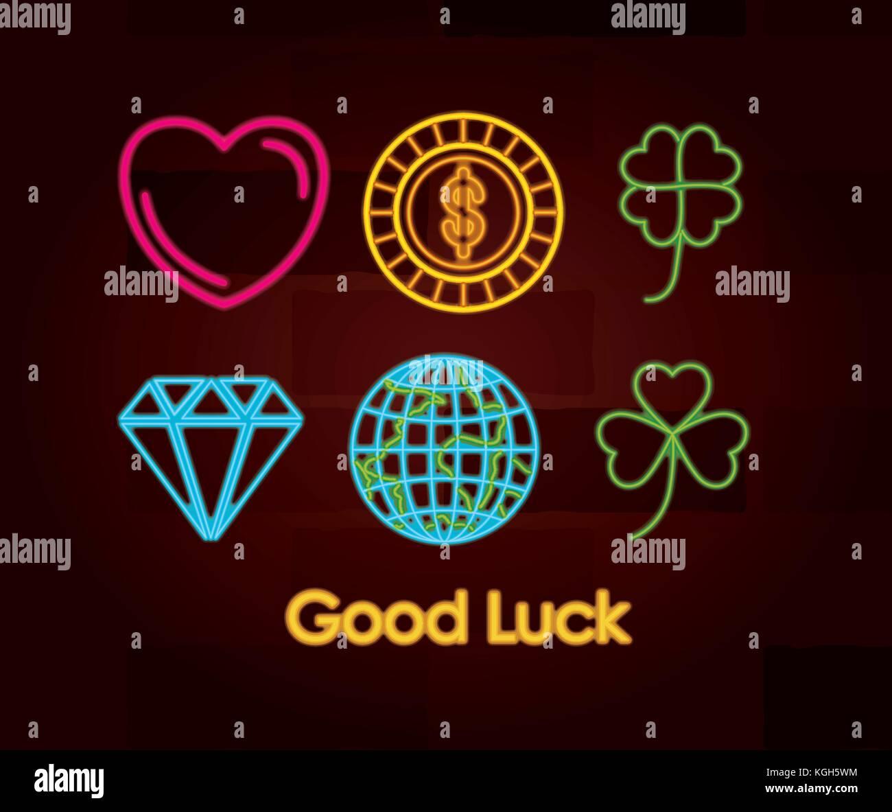 Good luck symbols stock photos good luck symbols stock images good luck symbols set of neon sign on brick wall stock image biocorpaavc