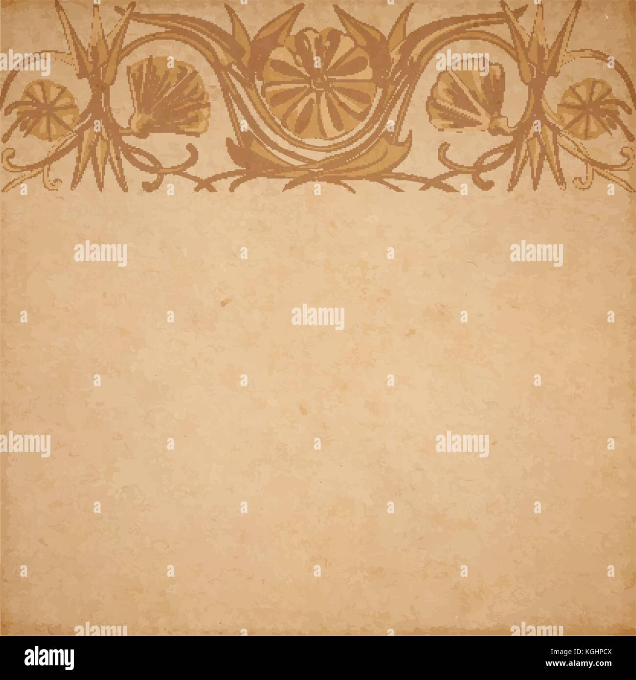 Vector Illustration Of Scrapbooking Parchment Paper With Flower