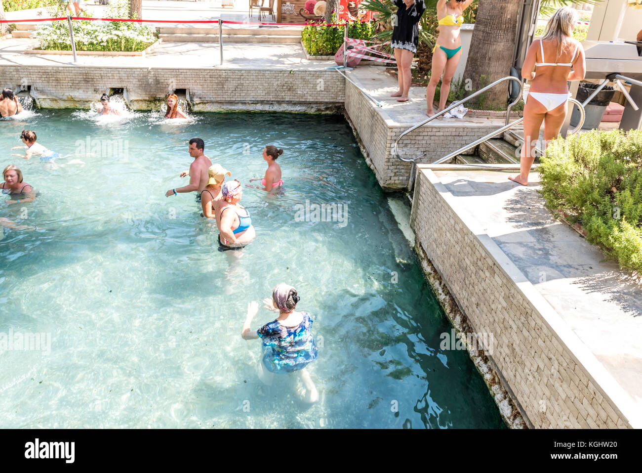 Swimming Pool Antiques : Tourists swimming in cleopatras pool stock photos