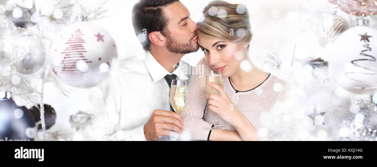 happy couple toasts at christmas and new year Stock Photo: 165123856 ...
