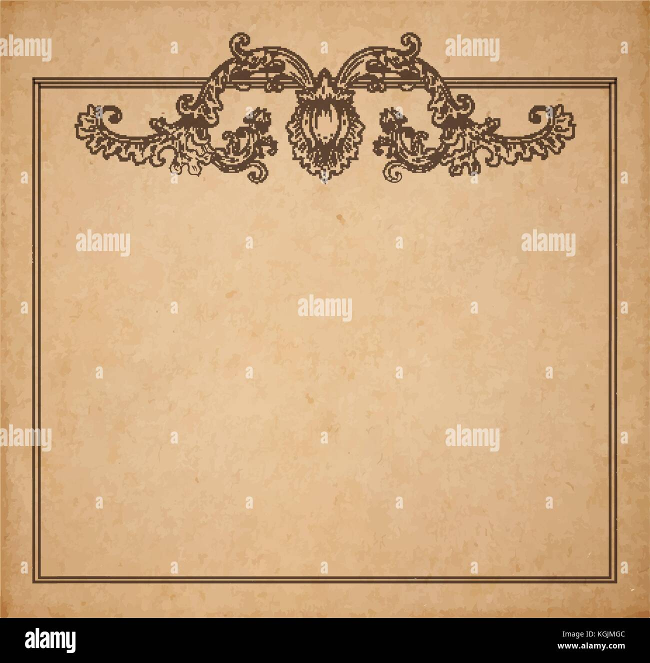 Vintage old paper texture with vector floral frame and medieval vintage old paper texture with vector floral frame and medieval flowers copy space realistic parchment page stopboris