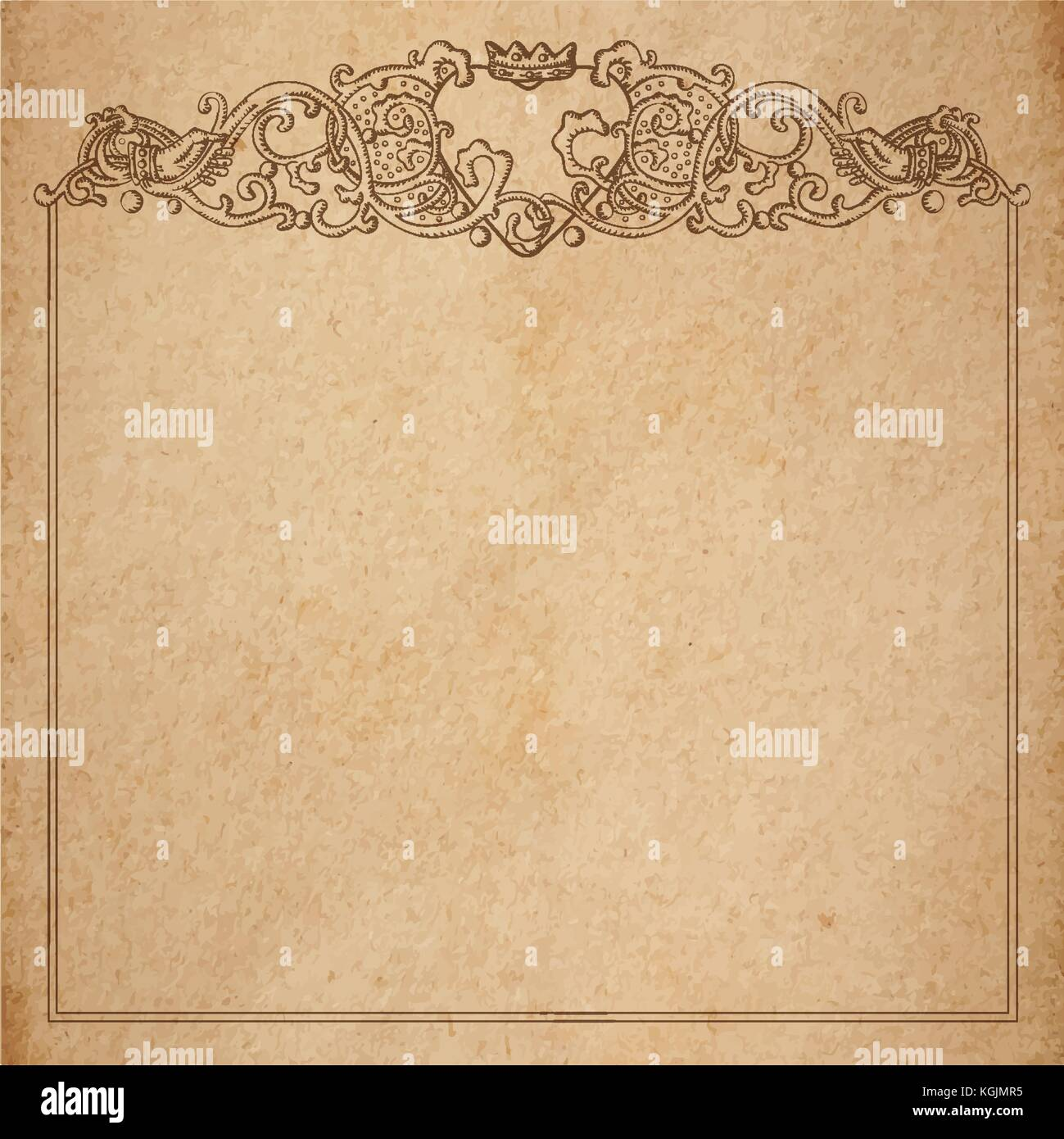 Vintage old paper texture with vector vignette with medieval stock vintage old paper texture with vector vignette with medieval ornament hand drawn floral decorative frame with heart and crown holded by hands copy s stopboris Image collections