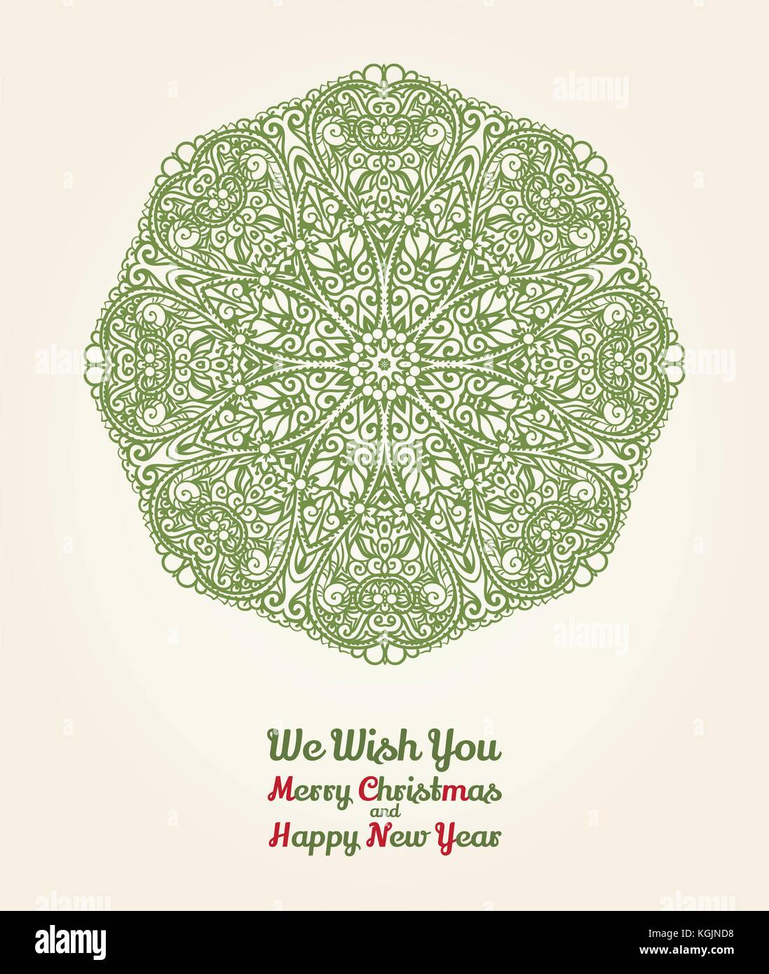 vector christmas and new year card with ornamental snowflake