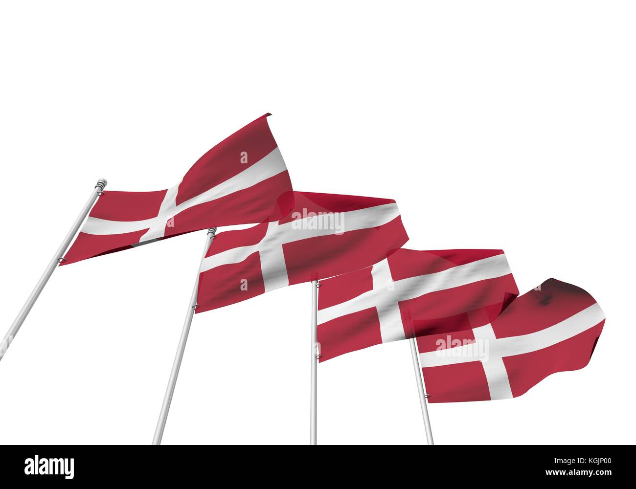 Denmark Flags In A Row With A White Background D Rendering Stock - Denmark flags