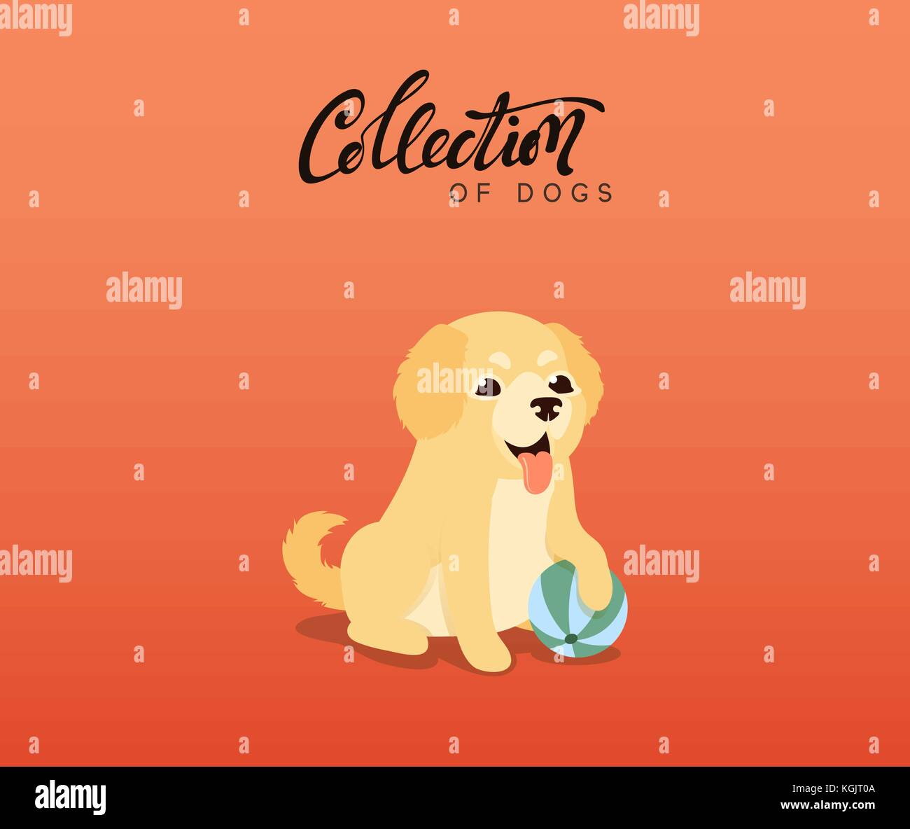 Cute Dogs Labrador And Golden Retriever Flat Animal Cartoon Stock