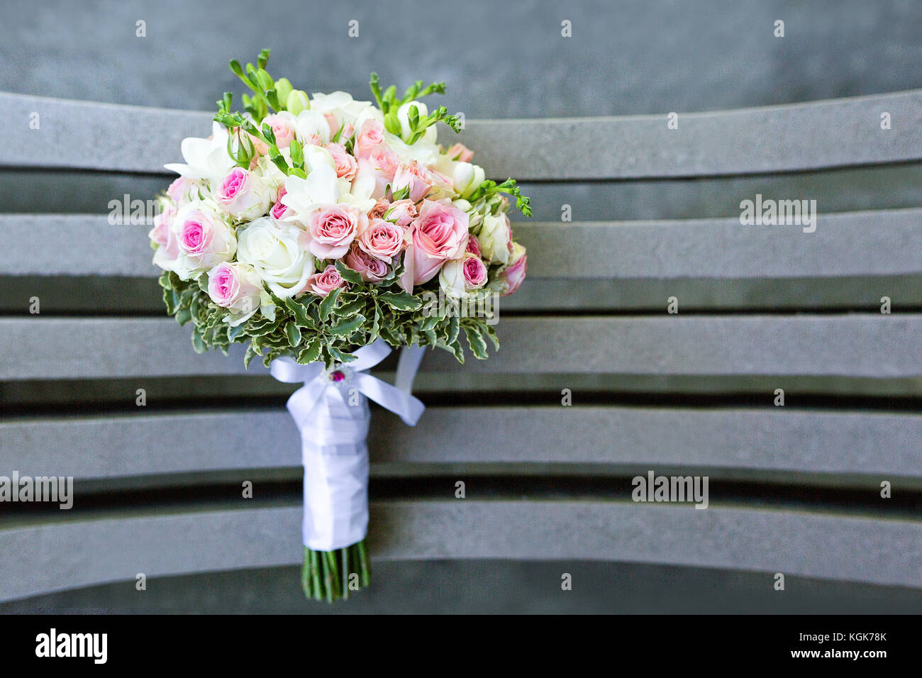 Pink And White Wedding Bouquet View From Above Small Pink Roses And