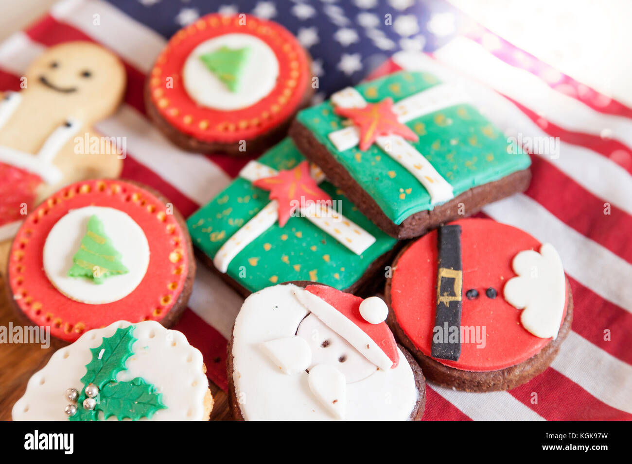 mixed with homemade christmas cookies over an american flag - Homemade Christmas Cookies