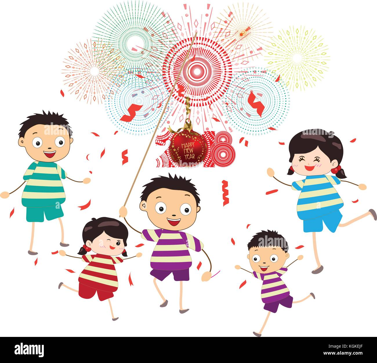 happy new year 2018 theme funny kids with ball and confetti